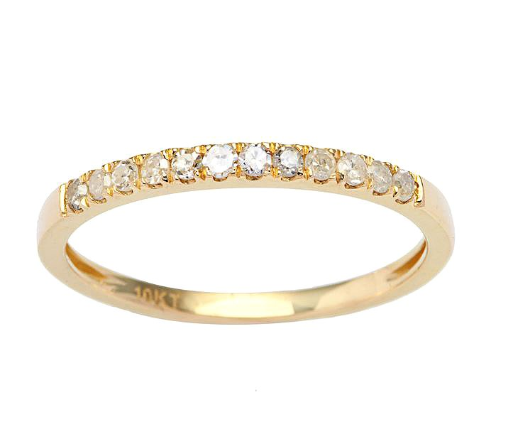 Yellow Gold 1/5ct Stackable Pave Diamond Band (G-H, I1-I2)