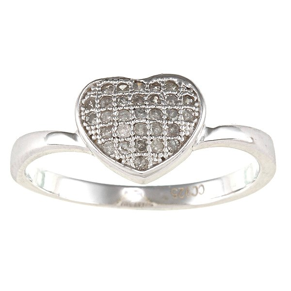 Sterling Silver 1/4ct TDW Heart Pave Diamond Ring (G-H, I2)