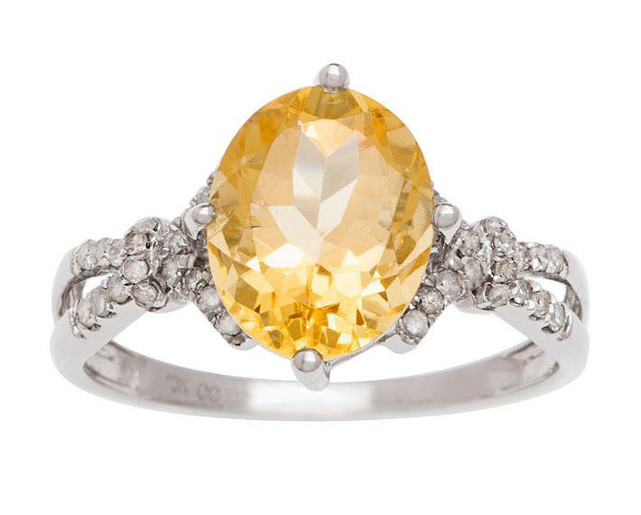 White Gold 3.20ct Oval Citrine and Split-Shank Diamond Ring