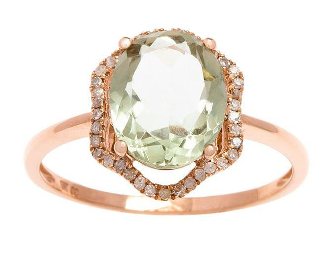 Rose Gold 3.20ct Oval Green Amethyst and Halo Pave Diamond Ring