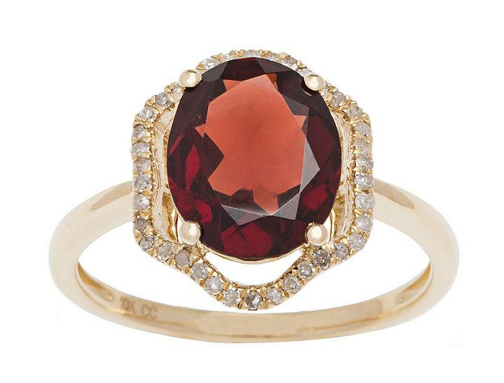 Yellow Gold 3.20ct Oval Garnet and Halo Pave Diamond Ring