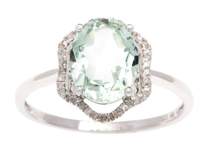White Gold 3.20ct Oval Green Amethyst and Halo Pave Diamond Ring