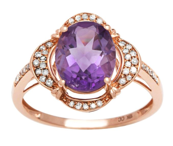 Rose Gold 3.33ct Oval Amethyst and Pave Halo Diamond Ring