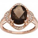 Rose Gold 3.33ct Oval Smokey Quartz and Pave Halo Diamond Ring