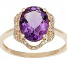 Yellow Gold 3.20ct Oval Amethyst and Halo Pave Diamond Ring