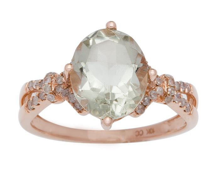 Rose Gold 3.20ct Oval Green Amethyst and Split-Shank Diamond Ring