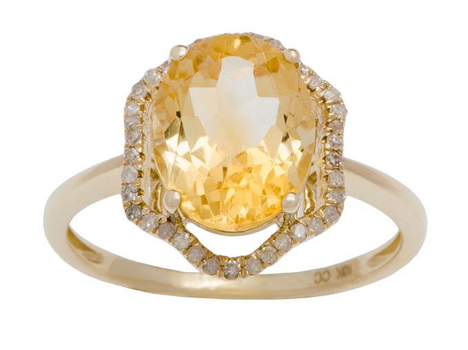 Yellow Gold 3.20ct Oval Citrine and Halo Pave Diamond Ring