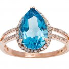 Rose Gold 3.33ct Pear-Shape Blue Topaz and Split-Shank Diamond Halo Ring