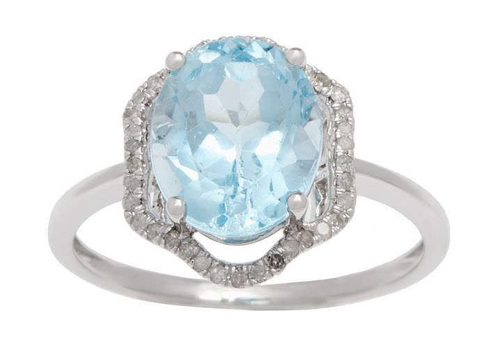 White Gold 3.20ct Oval Blue Topaz and Halo Pave Diamond Ring