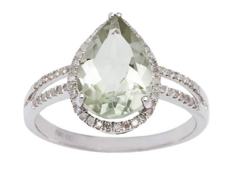 White Gold 3.33ct Pear-Shape Green Amethyst and Split-Shank Diamond Halo Ring