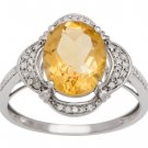 White Gold 3.33ct Oval Citrine and Pave Halo Diamond Ring