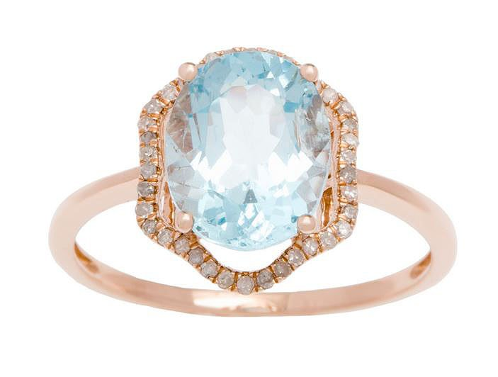Rose Gold 3.20ct Oval Blue Topaz and Halo Pave Diamond Ring