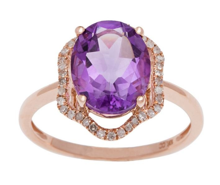 Rose Gold 3.20ct Oval Amethyst and Halo Pave Diamond Ring