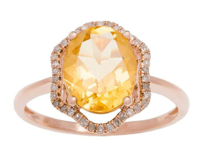 Rose Gold 3.20ct Oval Citrine and Halo Pave Diamond Ring