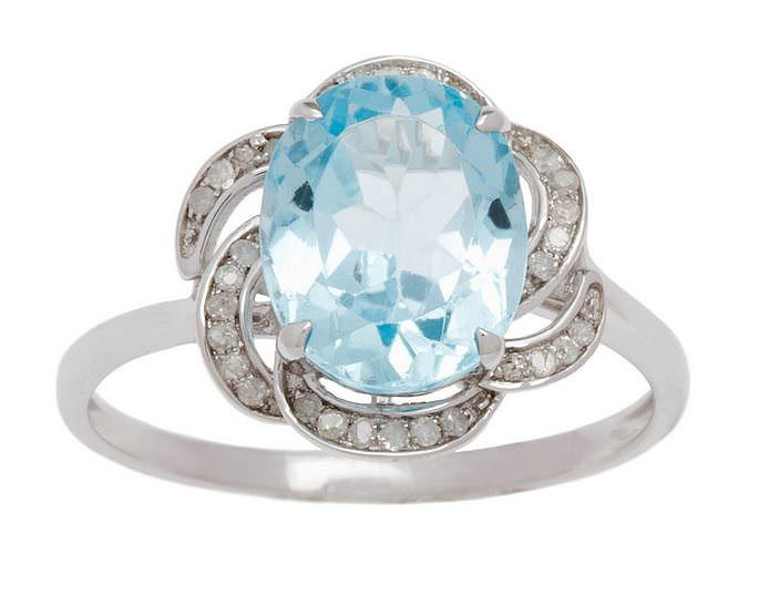 10k White Gold 3.16ct Oval Blue Topaz and Pave Curved Halo Diamond Ring