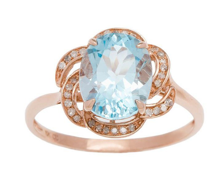 10k Rose Gold 3.16ct Oval Blue Topaz and Pave Curved Halo Diamond Ring