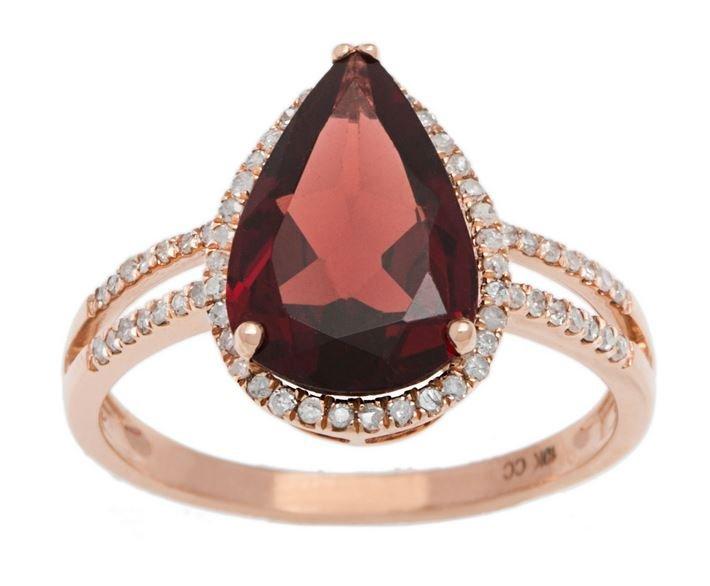 Rose Gold 3.33ct Pear-Shape Garnet and Split-Shank Diamond Halo Ring