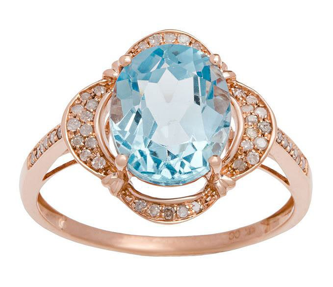 Rose Gold 3.33ct Oval Blue Topaz and Pave Halo Diamond Ring
