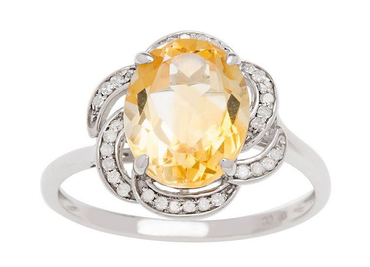 10k White Gold 3.16ct Oval Citrine and Pave Curved Halo Diamond Ring
