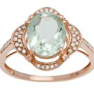 Rose Gold 3.33ct Oval Green Amethyst and Pave Halo Diamond Ring