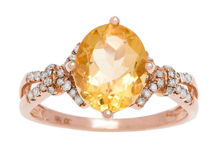 Rose Gold 3.20ct Oval Citrine and Split-Shank Diamond Ring