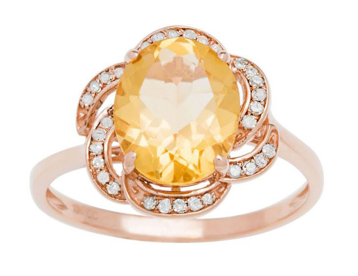 10k Rose Gold 3.16ct Oval Citrine and Pave Curved Halo Diamond Ring