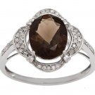 White Gold 3.33ct Oval Smokey Quartz and Pave Halo Diamond Ring