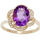 Yellow Gold 3.16ct Oval Amethyst and Pave Curved Halo Diamond Ring