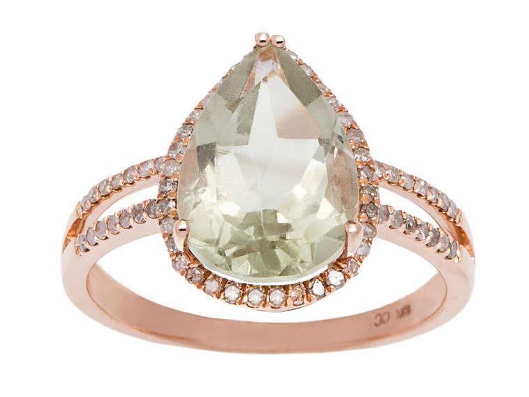 Rose Gold 3.33ct Pear-Shape Green Amethyst and Split-Shank Diamond Halo Ring