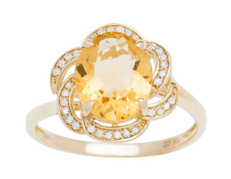 10k Yellow Gold 3.16ct Oval Citrine and Pave Curved Halo Diamond Ring
