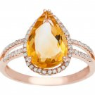 Rose Gold 3.33ct Pear-Shape Citrine and Split-Shank Diamond Halo Ring