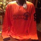 Akademiks Men's Shirt (T-Shirt) 2XL Orange & Navy Long Sleeve Big & Tall