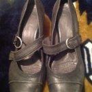 Nurture Women's Gray Leather Heels Mary Janes Pumps Size 10M