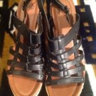 FADED GLORY BLACK STRAPPY WEDGE SANDAL SIZE 10 WOMENS SHOES