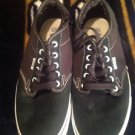 vans men atwood size 9.5 men,11 women, black/white,skateboards .M,suede/ canvas
