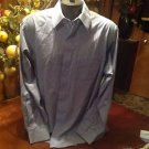 Pierre Cardin Dress Shirt Size 16-16.5 34/35 Small Blue/White Check Long Sleeve