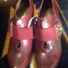 "JESSICA SIMPSON Roha Burgandy Genuine Leather Sz 9  ankle shoe 4"" heel pump boot"