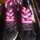 CIRCO Girls Black/Pink Canvas Sequence Wedged Heel Tennis Shoes - SZ 4 - VGC