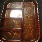 "VINTAGE BROWN GLASS 5 SECTION FRUIT PATTERN TRAY 11.5"" LONG"