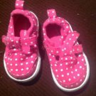 Faded Glory Infant Girls Pink & White Polka Dot T-Strap Sneakers Size 2