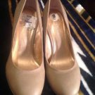 "BCBGENERATION Taupe-Beige  Leather Round Toe Heels Wedges Sz 9M ""TEAVEN"" GREAT!"