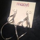 Macy's Long Silver Metal Earrings Beautiful Take A Look $14 Ret.