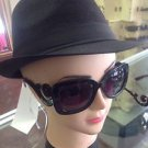 Swirl Arm Womens Medium Square Retro Baroque Style Sunglasses Black or Tortoise