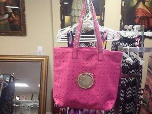 "Hot Pink Gold Medallion XLarge Handbag W/Insert 18""W 14""H Ret $59"