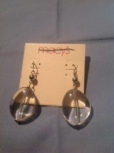 Macy's Clear Dangle Earrings Ret. $14.50