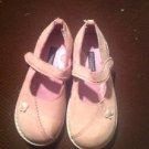 OSHKOSH 10, Genuine Kids Girl Pink Suede w/Flowers Shoes, Mary Jane  MINT!