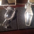 Living Quarters 2/Pc Crystal WINE GLASS & ICE CREAM  Christmas Ornaments CLEAR