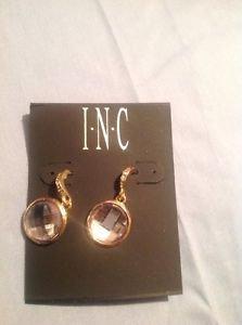INC Clear Gold & Zirconia Pierced Earrings DIA Drop Ret $22.50