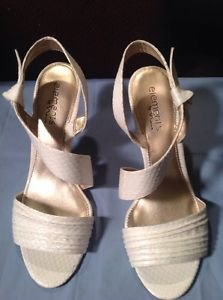 Elements by NINA VELMA Ivory faux leather reptile print strappy sandals 11M