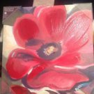 Hand Painted Canvas Wall Art By Judith James Red Poppies 12x12 Ret. 39.99 NWT
